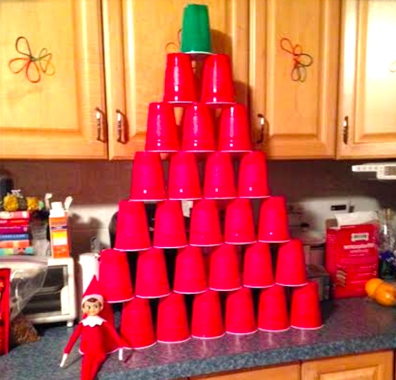 Christmas Tree Made Of Plastic Cups: Build-A-Tree Game
